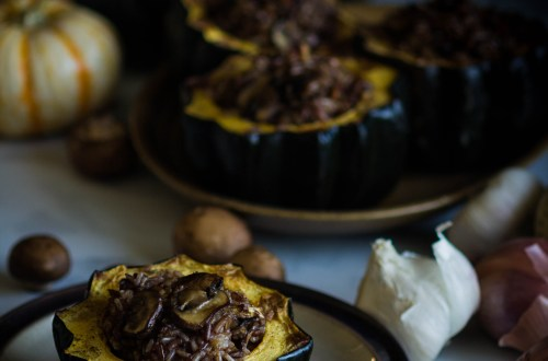 Acorn Squash Stuffed with Wild Rice and Mushroom Pilaf by Kristen McSorley, Bozeman MT photographer