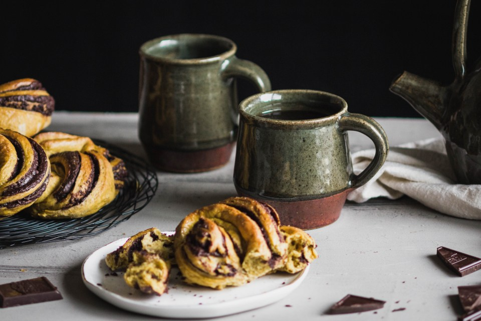 Pumpkin Spice and Chocolate Babka Buns from Boiled Wheat Blog by Kristen McSorley, Bozeman Montan Food Photographer