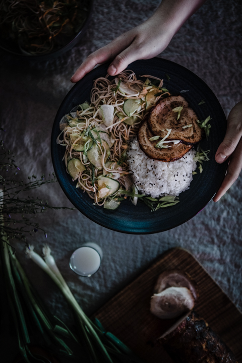 Chashu (Japanese Braised Pork Belly) with Cold Soba and Cucumber Salad from Boiled Wheat Blog by Kristen McSorley
