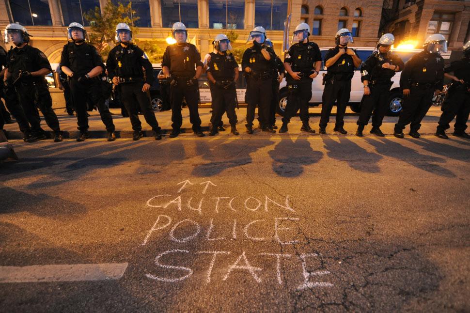 NATO protests in Chicago: Police van drives into protesters NATO Protesters March VV 0003