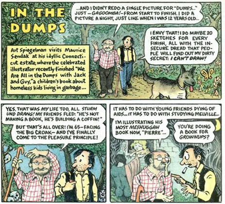 Spiegelman honors Sendak in 1993 - Through BoingBoing and Neil Gaiman