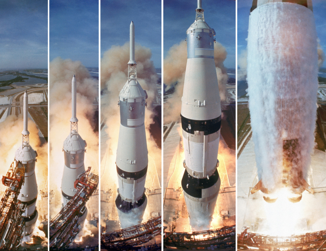 5 frame shot of the gantry retracting while the Saturn V boosters lift off to carry the Apollo 11 astronauts to the Moon. Photo: TIME.