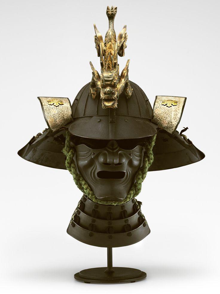 A suji kabuto (helmet) and menpo (face mask) HELMET SIGNED MYOCHIN KI (NO) MUNEKATA, MENPO SIGNED MYOCHIN KI (NO) MUNEHO, EDO PERIOD (C. 1845)