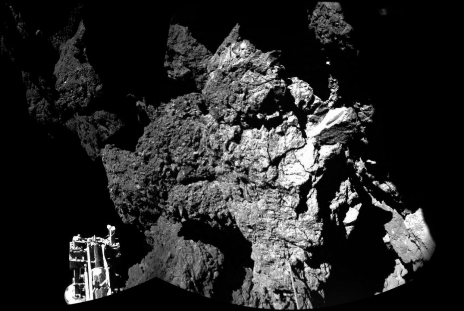 Philae's CIVA instrument captured this image of its landing site. Photograph: European Space Agency