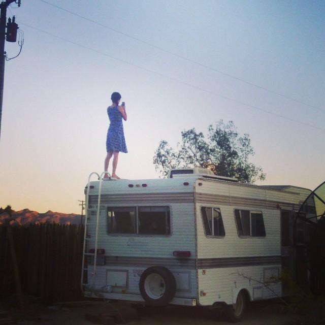reanna on RV at sunset