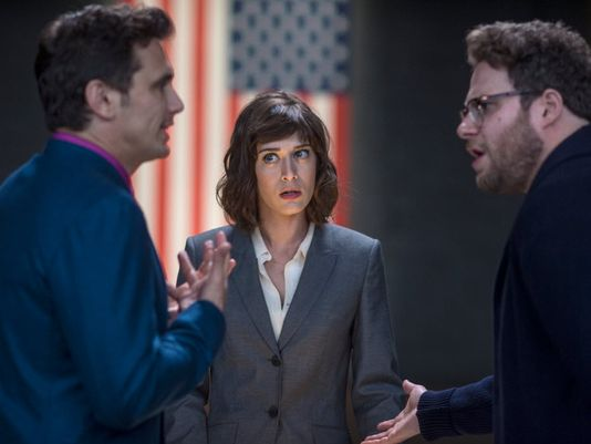 """Oh noes! A scene from """"The Interview,"""" which you may never see. [Sony Pictures]"""