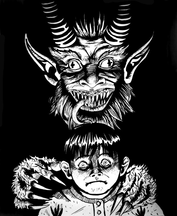 It's Krampusnacht, the night Krampus comes to punish the wicked children, so I drew this for y'all. Happy Krampusnacht! - Imgur