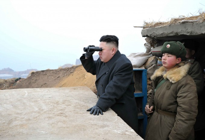 Kim Jong-Un, searching for a decent connection. KCNA via Reuters.