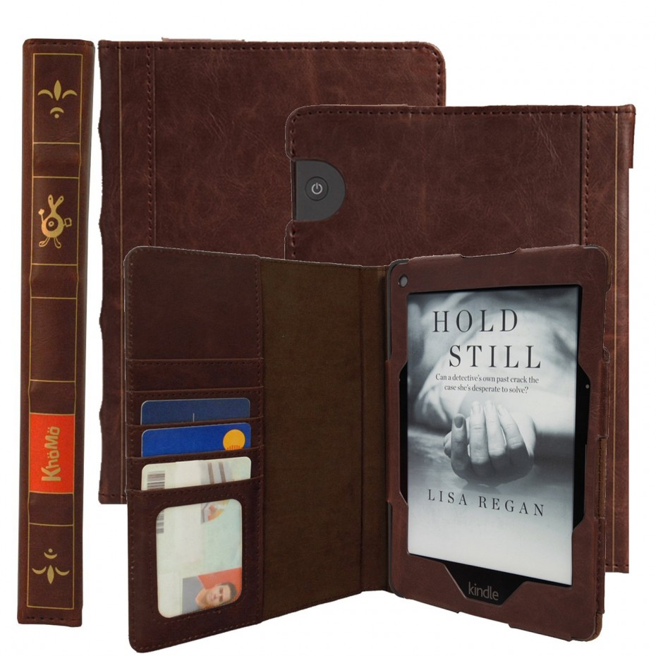 KHOMO ® Brown Book Style Leather Case for Amazon Kindle Voyage