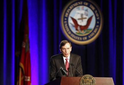 Former CIA director and retired general David H. Petraeus speaks as the keynote speaker at the University of Southern California annual dinner for veterans and ROTC students, in Los Angeles, California March 26, 2013. He's free to do a lot more of this now.