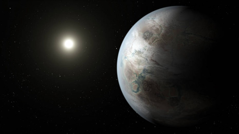 This artist's concept depicts one possible appearance of the planet Kepler-452b, the first near-Earth-size world to be found in the habitable zone of star that is similar to our sun. Larger size here. Credits: NASA/JPL-Caltech/T. Pyle