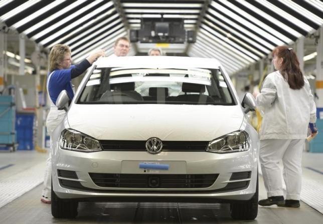 A VW Golf VII car is pictured in a production line at the Volkswagen plant in Wolfsburg, Germany, 2013. REUTERS