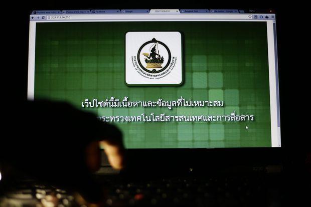 Thai censorship logo on a laptop in Bangkok on Friday.