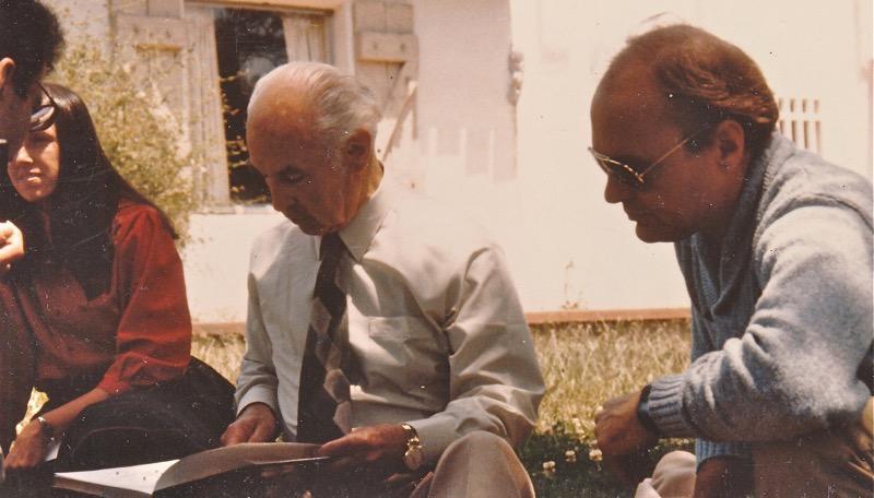 Albert Hofmann inscribing books, with John Palmer