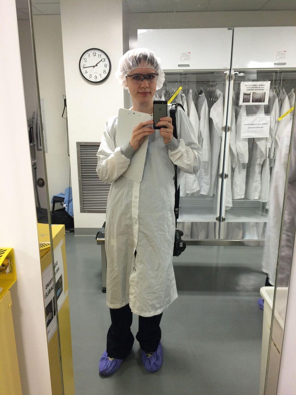 Pre-cleanroom selfie, suiting up.