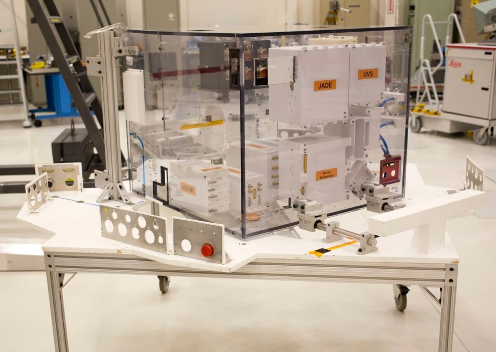 A plastic, full-size model of the equipment vault. The plexiglass will be titanium on the real deal. Photo: Katherine Leipper.