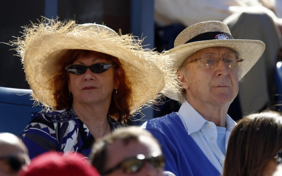 Actor Gene Wilder and his wife Karen Boyer watch the match between Rafael Nadal of Spain and Mikhail Youzhny of Russia during the U.S. Open tennis tournament in New York, September 11, 2010.  REUTERS