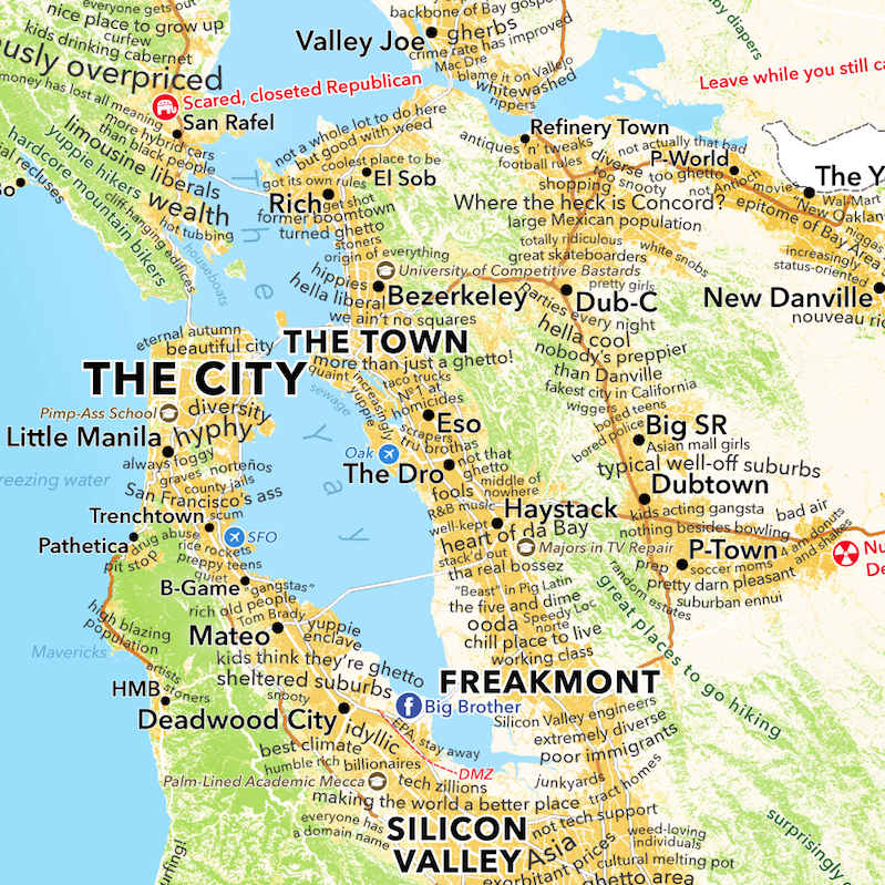 San Francisco Bay Area Map According To Urban Dictionary Boing Boing Идёт загрузка карты… the san francisco bay area is a geographically large mix of urban. san francisco bay area map according to