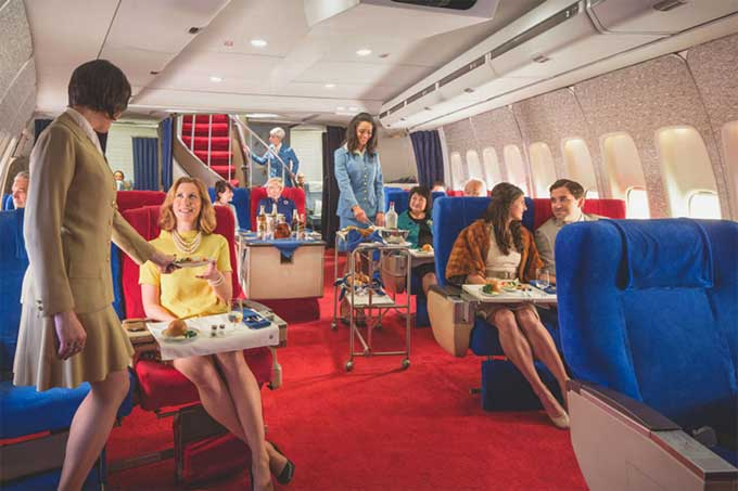 "The ""Pan Am Experience:"" Luxury Dinner, circa 1970, Served in a Recreated 747"