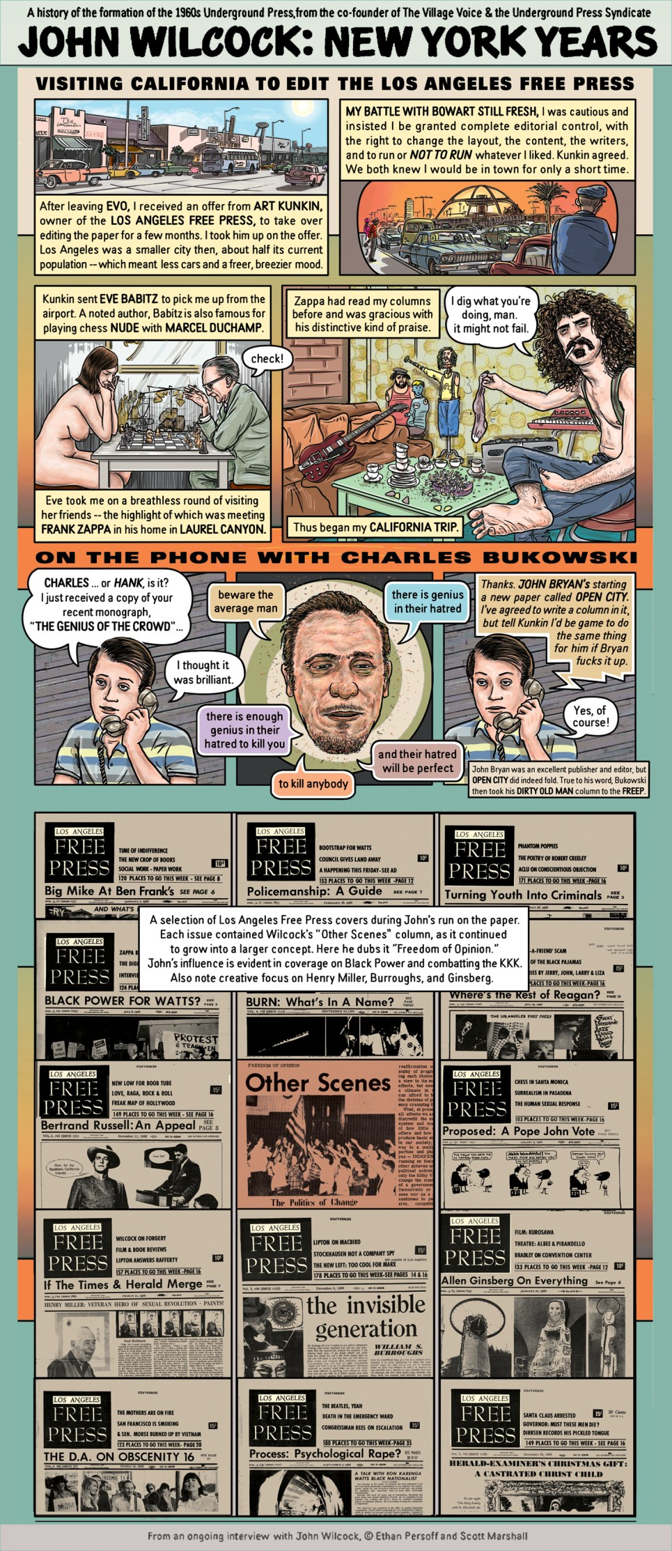 John Wilcock and the Los Angeles Free Press - art by Ethan Persoff and Scott Marshall