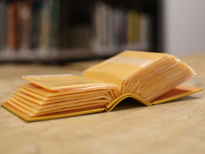 A book made from shelf-stable American cheese slices