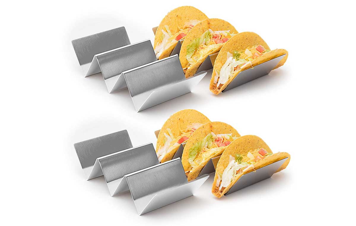 Stainless steel taco holders on sale