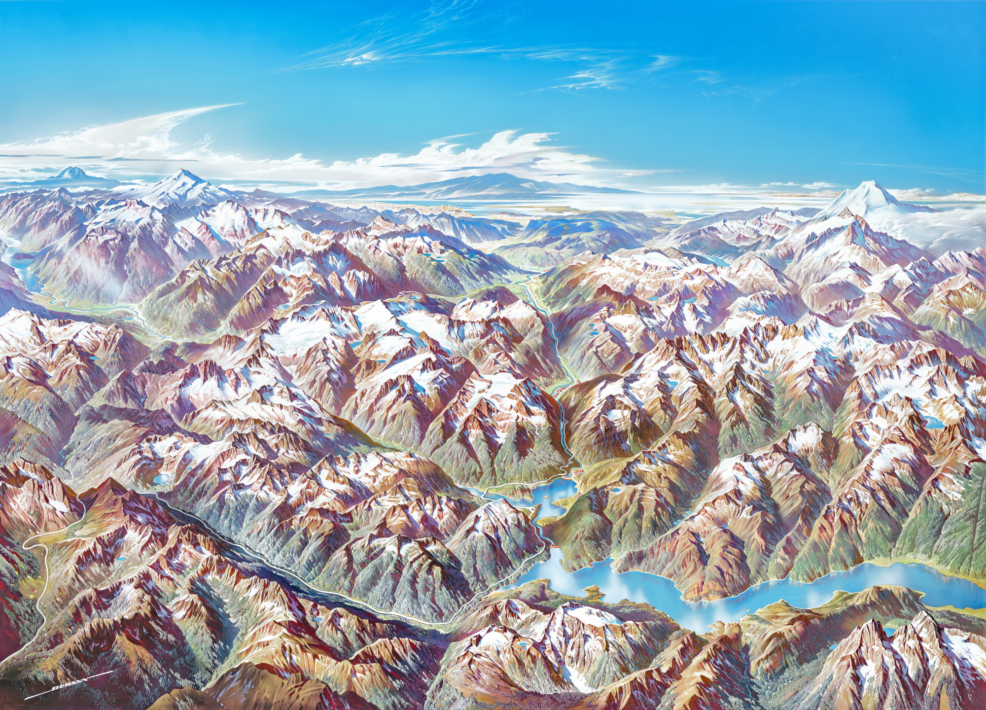 National Parks Service Publishes Hi Rez Scans Of Heinrich Berann S Iconic Panoramic Paintings Of America S Parks Boing Boing