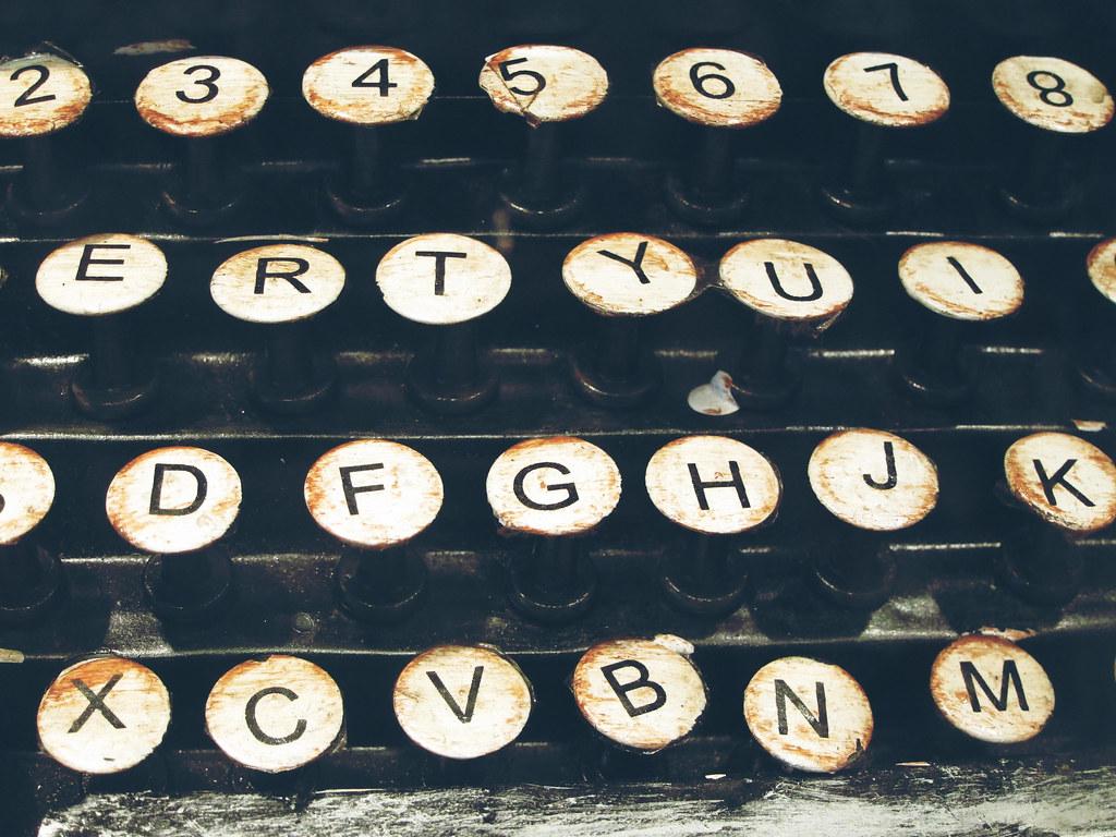 Closeup photo of an old manual typewriter