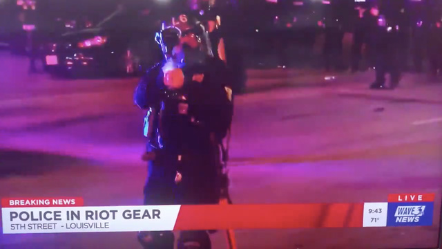 Footage shows Louisville police shooting pepper rounds at news crew