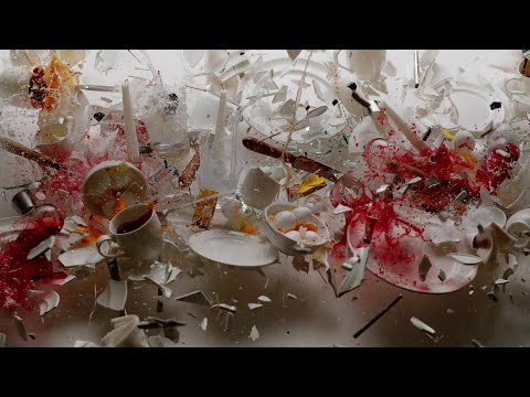 Beautiful film of plates and glasses smashing to a Bach soundtrack