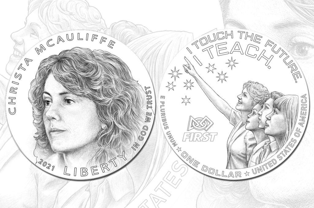 US silver dollar coin design commemorating astronaut/schoolteacher Christa McAuliffe