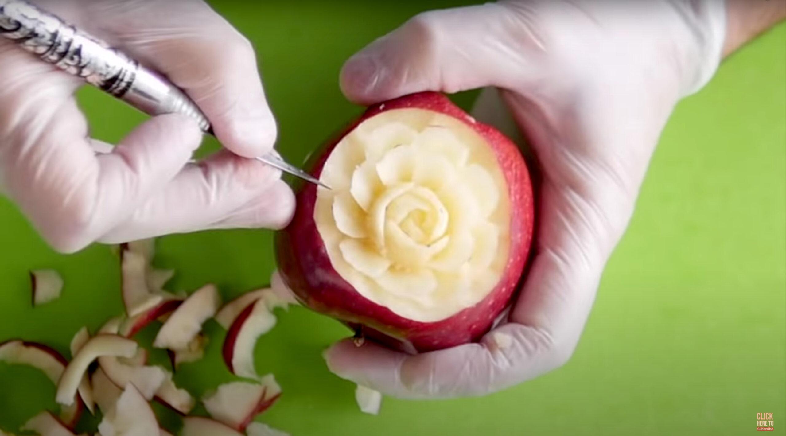 Watch this expert apple sculptor create juicy delights