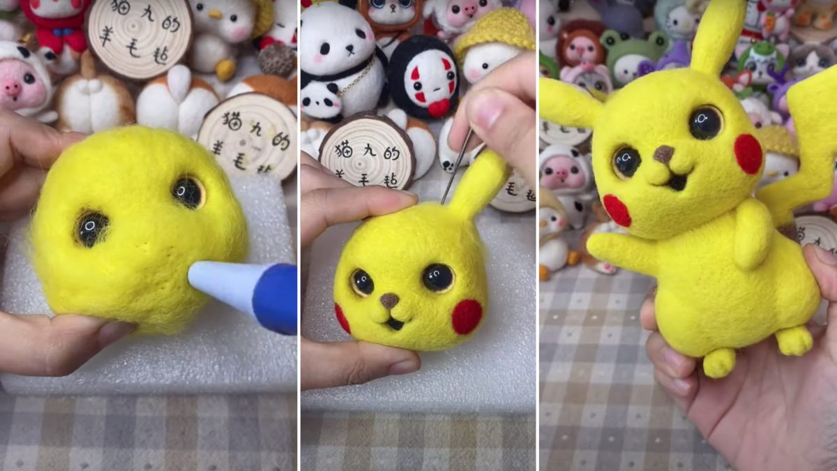 Maker creates a Pikachu from felted wool | Boing Boing
