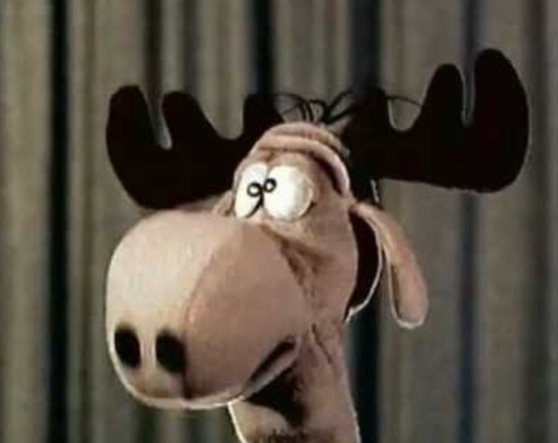 Watch Bullwinkle the television puppet tell kids to pull the knobs off their TV sets (1961)