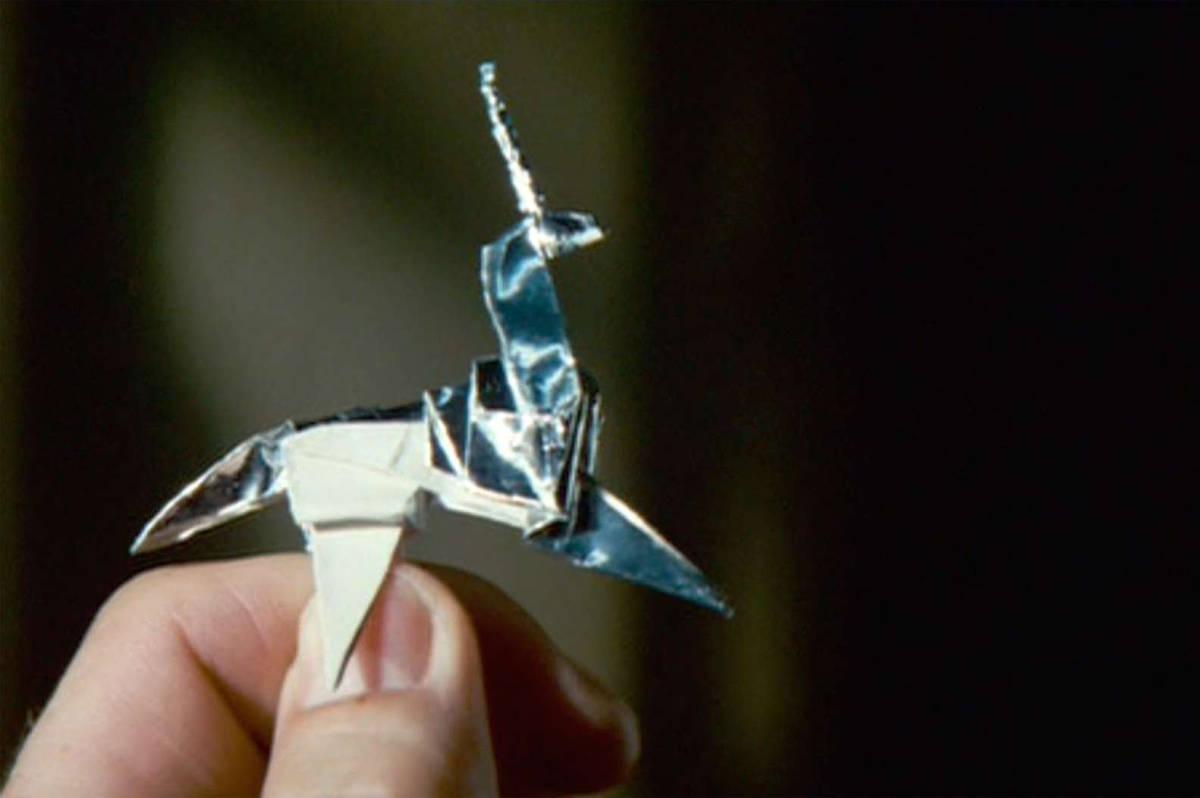 Screenshot of origami unicorn from Blade Runner