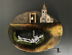Painting of skeleton ringing a bell in a graveyard