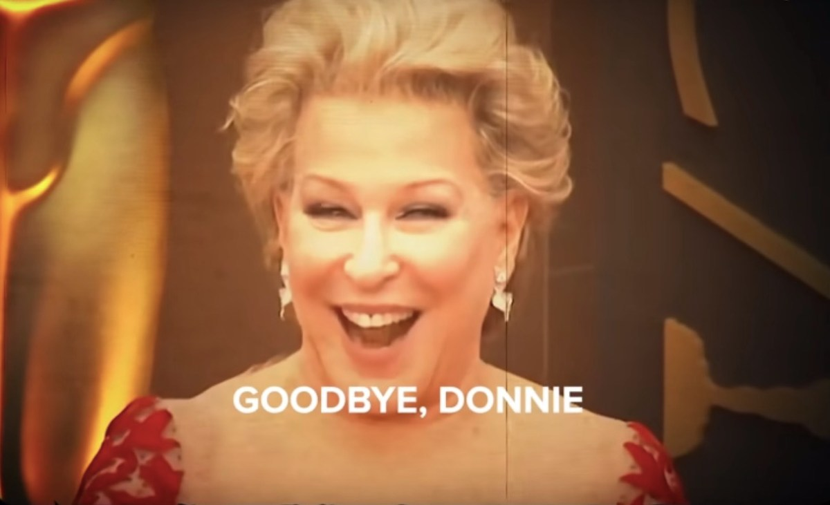 "Bette Midler in top form as she sings ""Goodbye, Donnie"" in this hilarious video 
