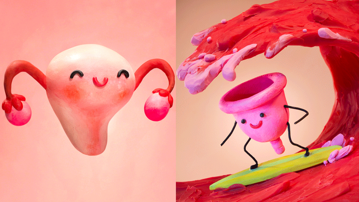 Claymation diva cup and uterus