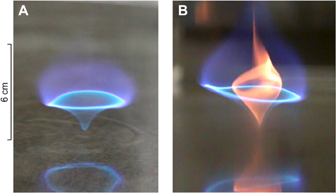 "Image of a ""blue whirl"" flame, from a scientific paper on them"