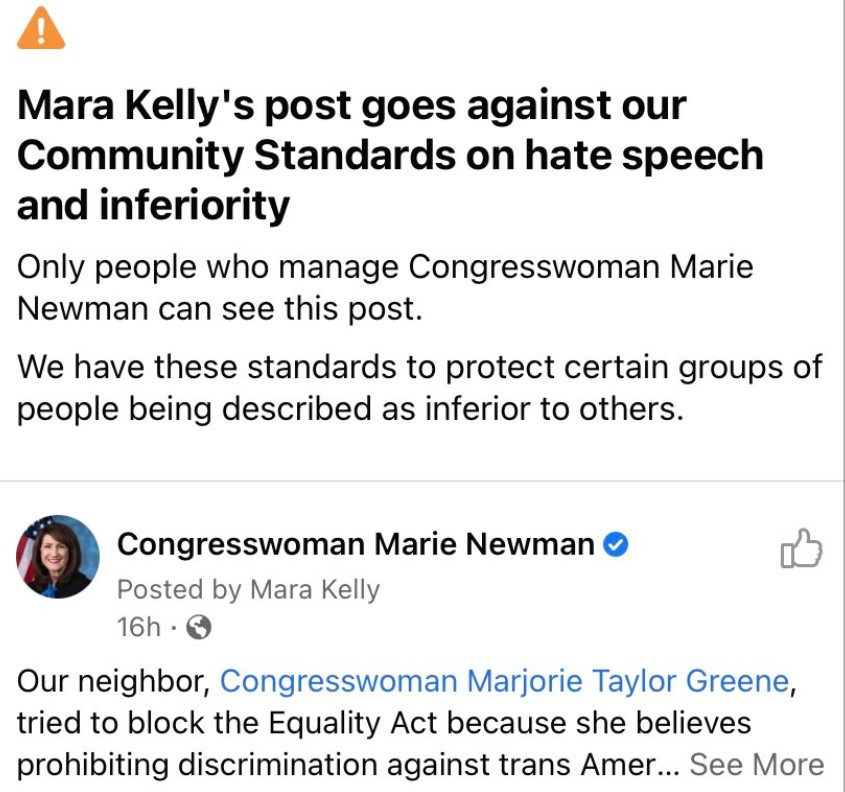 Facebook removes congresswoman's pro-Trans post as