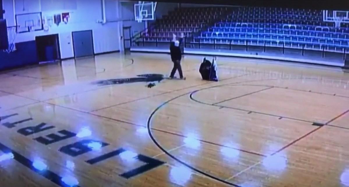 Watch school custodian ace basketball trick shot when he thinks no one is watching   Boing Boing