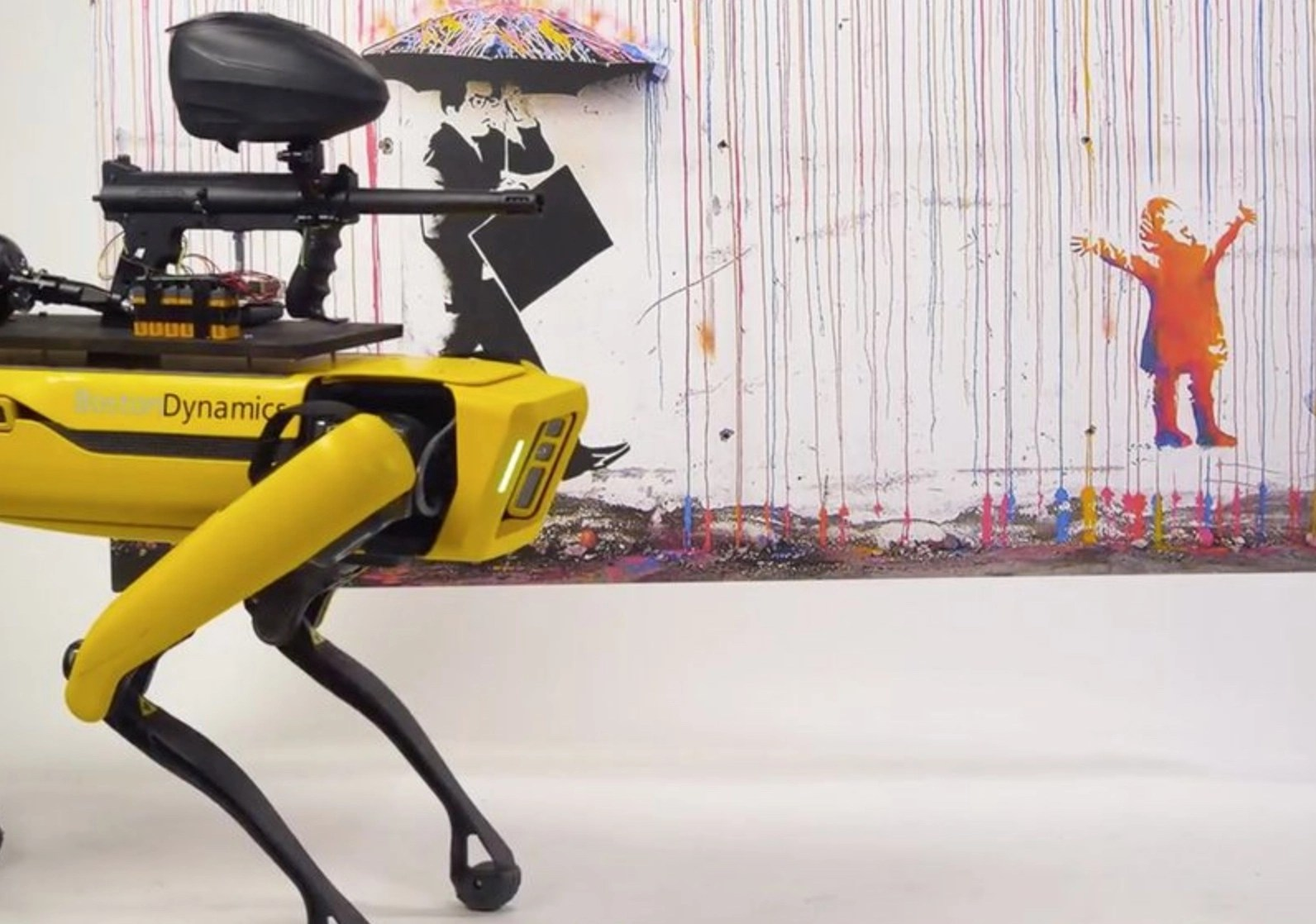 Artists outfitted robot dog Spot with a paintball gun in commentary on futuristic killer robots, just as NYDP deploys the same robot