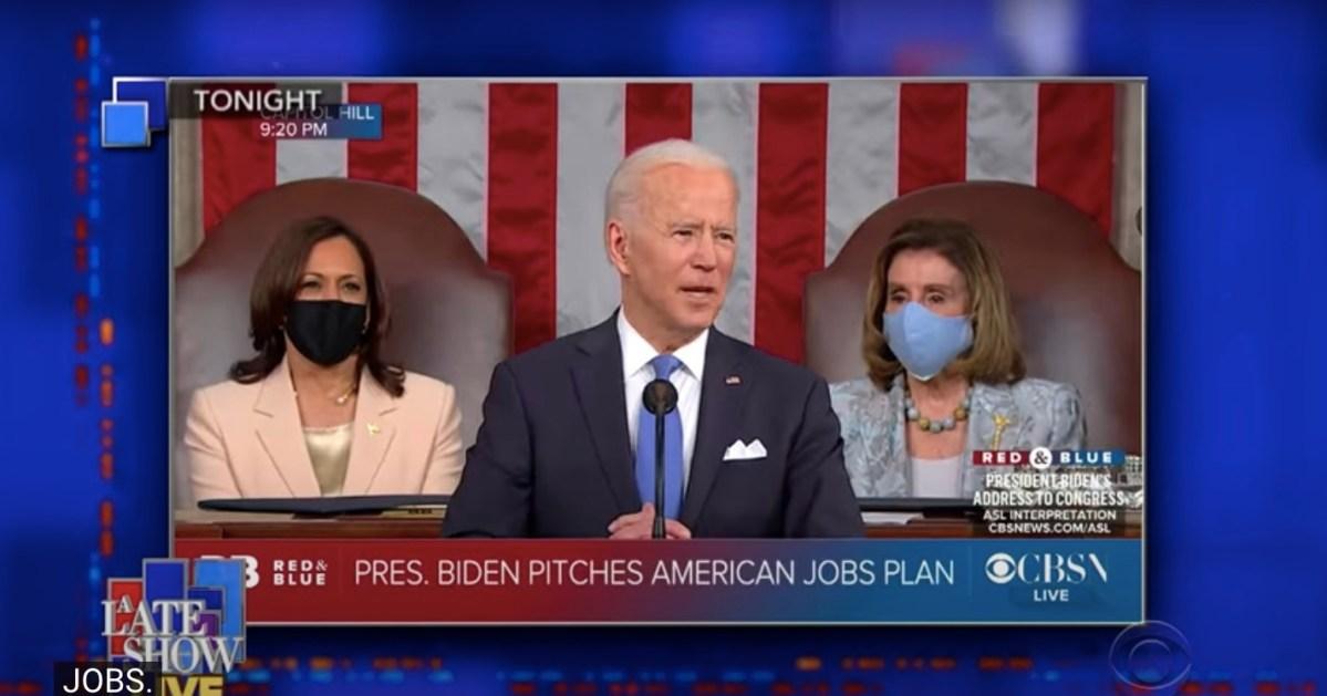 Colbert makes hilarious Biden montage (and dirty joke) after speech   Boing Boing