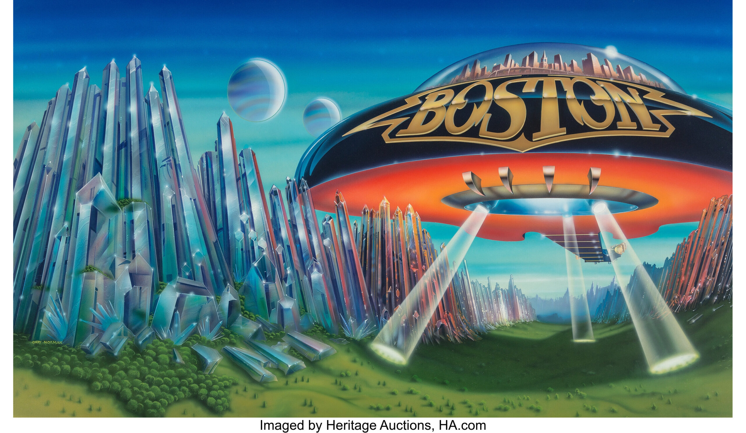"""Here's your chance to bid on the original artwork for Boston's """"Don't Look Back"""" LP cover"""