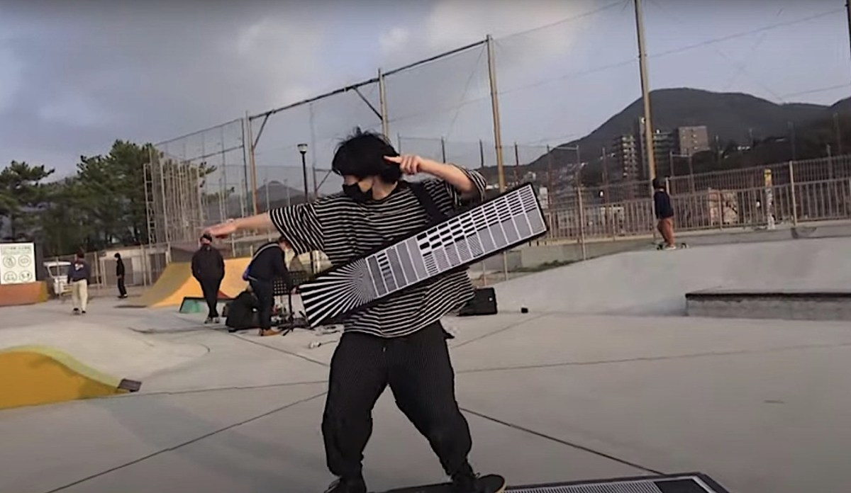 """Watch: A musician """"plays"""" a barcode reader with his skateboard in a park and it's fantastic   Boing Boing"""