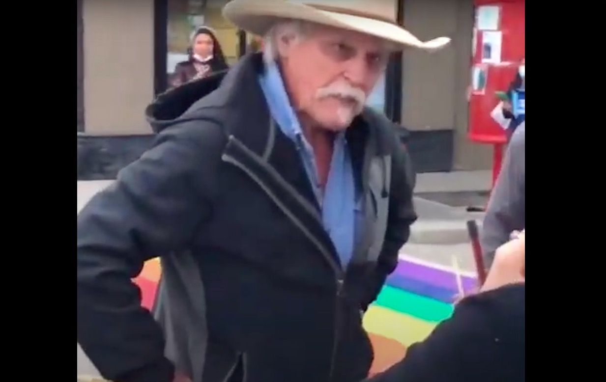 Angry gentleman has a fit over a painted Pride crosswalk