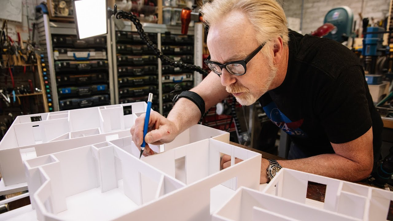 Adam Savage builds a makerspace model out of foamcore
