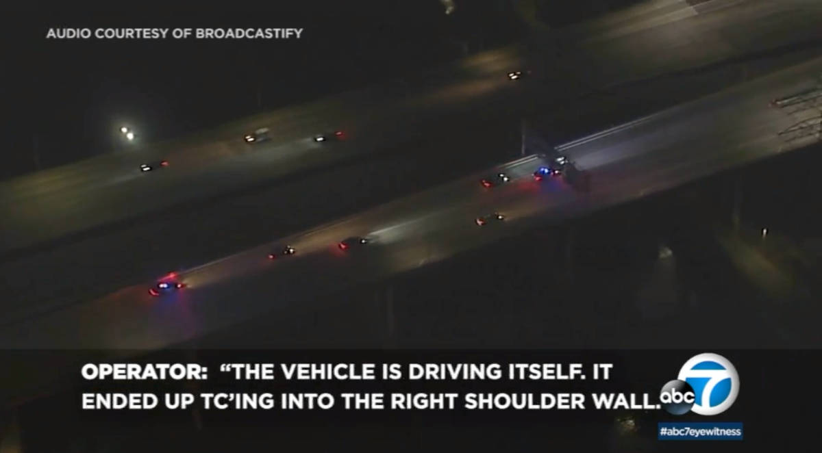Screenshot of ABC 7 news segment showing a tesla on autopilot mode while the drunk driver is passed out
