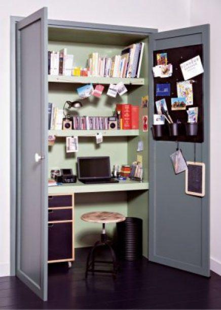 Bureau DIY dans un placard
