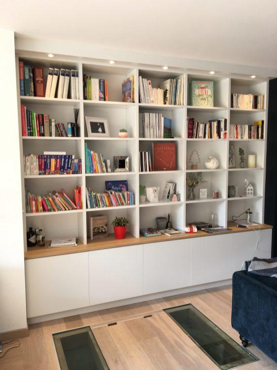 bibliothèque laquée plateau en chêne massif mouvaux